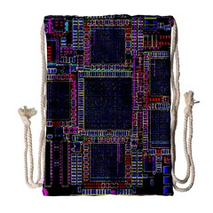 Technology Circuit Board Layout Pattern Drawstring Bag (Large)