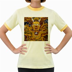 Chinese Dragon Pattern Women s Fitted Ringer T Shirts