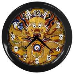 Chinese Dragon Pattern Wall Clocks (black)