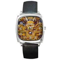 Chinese Dragon Pattern Square Metal Watch