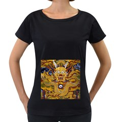 Chinese Dragon Pattern Women s Loose Fit T Shirt (black)