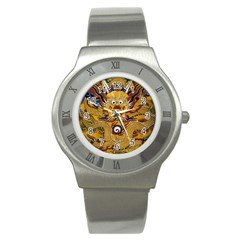 Chinese Dragon Pattern Stainless Steel Watch