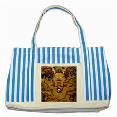 Chinese Dragon Pattern Striped Blue Tote Bag