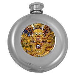 Chinese Dragon Pattern Round Hip Flask (5 Oz)