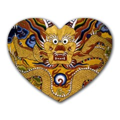 Chinese Dragon Pattern Heart Mousepads