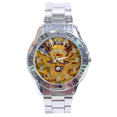 Chinese Dragon Pattern Stainless Steel Analogue Watch