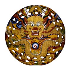 Chinese Dragon Pattern Round Filigree Ornament (two Sides)