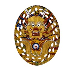 Chinese Dragon Pattern Oval Filigree Ornament (two Sides)
