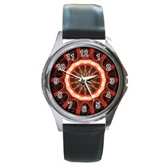 Circle Pattern Round Metal Watch