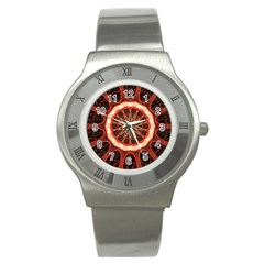 Circle Pattern Stainless Steel Watch