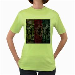 Circuit Board Seamless Patterns Set Women s Green T Shirt