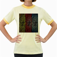Circuit Board Seamless Patterns Set Women s Fitted Ringer T Shirts