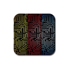 Circuit Board Seamless Patterns Set Rubber Coaster (square)