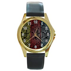 Circuit Board Seamless Patterns Set Round Gold Metal Watch