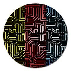 Circuit Board Seamless Patterns Set Magnet 5  (Round)
