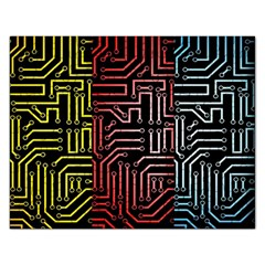 Circuit Board Seamless Patterns Set Rectangular Jigsaw Puzzl