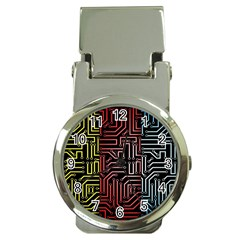 Circuit Board Seamless Patterns Set Money Clip Watches
