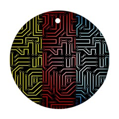 Circuit Board Seamless Patterns Set Round Ornament (two Sides)