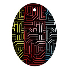 Circuit Board Seamless Patterns Set Oval Ornament (two Sides)