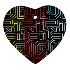 Circuit Board Seamless Patterns Set Heart Ornament (two Sides)