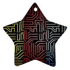 Circuit Board Seamless Patterns Set Star Ornament (two Sides)