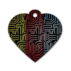 Circuit Board Seamless Patterns Set Dog Tag Heart (two Sides)