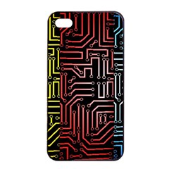 Circuit Board Seamless Patterns Set Apple Iphone 4/4s Seamless Case (black)