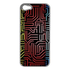 Circuit Board Seamless Patterns Set Apple Iphone 5 Case (silver)