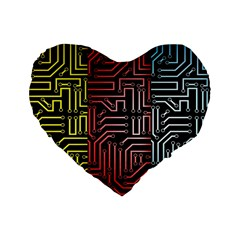 Circuit Board Seamless Patterns Set Standard 16  Premium Heart Shape Cushions