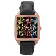 Circuit Board Seamless Patterns Set Rose Gold Leather Watch