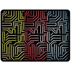 Circuit Board Seamless Patterns Set Double Sided Fleece Blanket (Large)