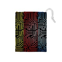 Circuit Board Seamless Patterns Set Drawstring Pouches (medium)