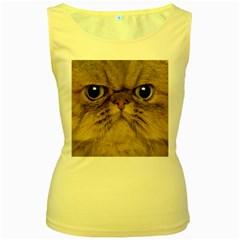 Cute Persian Cat Face In Closeup Women s Yellow Tank Top