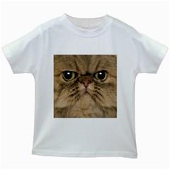 Cute Persian Cat face In Closeup Kids White T-Shirts