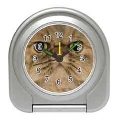 Cute Persian Cat face In Closeup Travel Alarm Clocks