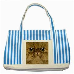 Cute Persian Cat Face In Closeup Striped Blue Tote Bag