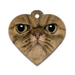 Cute Persian Cat face In Closeup Dog Tag Heart (Two Sides)