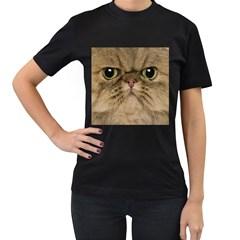 Cute Persian Cat face In Closeup Women s T-Shirt (Black)