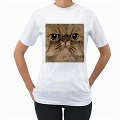 Cute Persian Cat Face In Closeup Women s T Shirt (white)