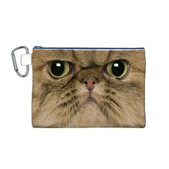 Cute Persian Cat Face In Closeup Canvas Cosmetic Bag (m)