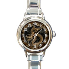 Dragon Pentagram Round Italian Charm Watch