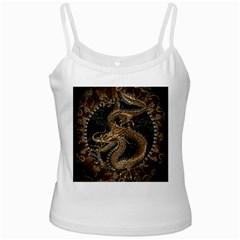 Dragon Pentagram White Spaghetti Tank