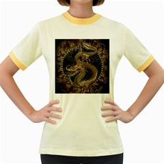 Dragon Pentagram Women s Fitted Ringer T-Shirts