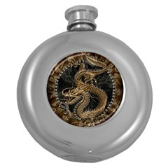 Dragon Pentagram Round Hip Flask (5 Oz)