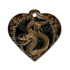 Dragon Pentagram Dog Tag Heart (one Side)