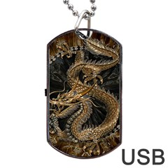 Dragon Pentagram Dog Tag USB Flash (One Side)