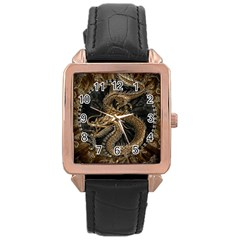 Dragon Pentagram Rose Gold Leather Watch