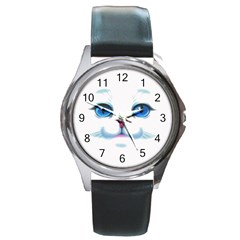 Cute White Cat Blue Eyes Face Round Metal Watch