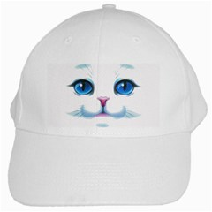 Cute White Cat Blue Eyes Face White Cap