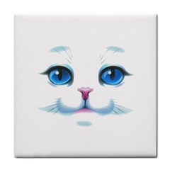 Cute White Cat Blue Eyes Face Tile Coasters